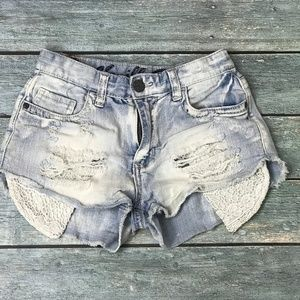 Vanilla Star Distressed Women's Blue Jeans Shorts